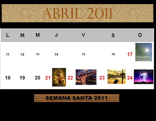 2011 Calendario.Calendario De Semana Santa 2011