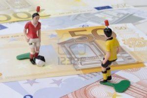 Figuras de jugadores de fútbol en los billetes en euros