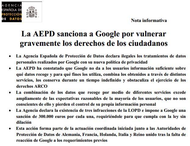 Nota informativa Agencia Protección Datos Google